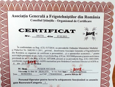 Certificare operator pentru lucru cu gaze fluorurate
