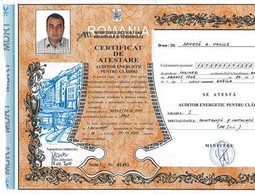 Certificat atestare auditor energetic pentru cladiri - Vasile Donosa