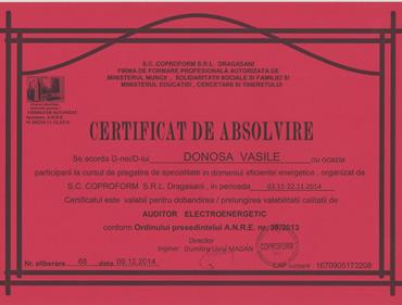 Certificare auditor electroenergetic