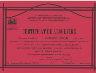 Certificare auditor termoenergetic