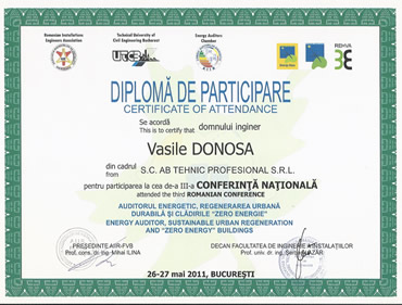 Diploma participare conferinta nationala auditor energetic