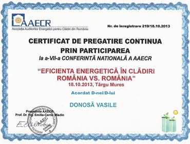 Diploma participare conferinta eficienta energetica